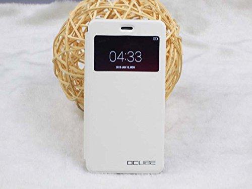 JIAYU S3 Pu Leder Kunstleder Flip Cover für JIAYU S 3 5.5 Zoll 3G Smart Phone Handy Tasche Hülle Case Handytasche Handyhülle Schutzhülle Etui Halter Halterung Handyhalter (Weiß)