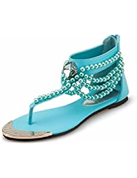 London Sky Blue Beading Flat Sandals For Women Luxury Rhinestone Decor T-Strap Flip Flops Beach Slippers Ladies...