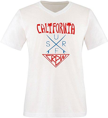 EZYshirt® California Surf Crew Herren V-Neck T-Shirt Weiss/Rot/Blau