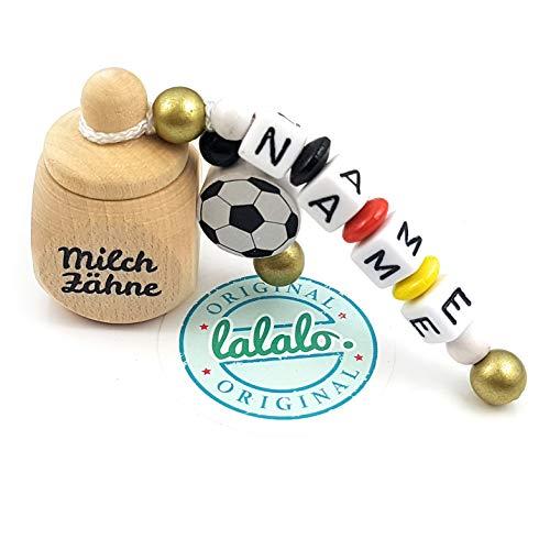 LALALO Holz Zahndose mit Namen, Taufgeschenk, Zahnbox Milchzähne Box Gravur, Milchzahndose Zahndöschen personalisiert (Aufdruck