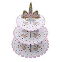 Flybloom 3-Tier Cardboard Party Cupcake Display Stand Dessert Stand for Birthday, Party, Unicorn Theme
