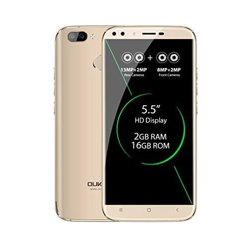 OUKITEL U22 - 5,5 Zoll 3G Smartphone, Android 7.0 Quad Core 2GB+16GB, 4 Kameras, Hinten 13.0MP+2.0MP, Front 8.0MP+2.0MP, Dual SIM, Entriegelte Handy, Gold