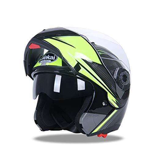KeRuiLou Casco Moto Flip Up Racing Casco Moto Double Visor per Uomo Inverno Caldo Caschi Motore Estivi Black Yellow XXL