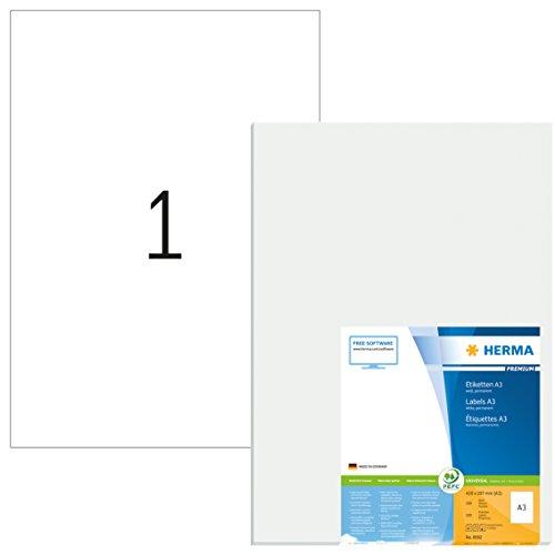 Herma 8692 Universal Etiketten (DIN A3 Format 297 x 420 mm) weiß, 100 Aufkleber, 100 Blatt Premium Papier matt, bedruckbar, selbstklebend