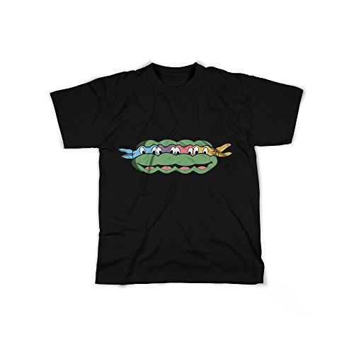 rt mit Aufdruck in Schwarz Gr. M Ninja Schildkröte Comic Design Boy Top Jungen Shirt Herren Basic 100% Baumwolle Kurzarm (Super Bösewicht Outfits)