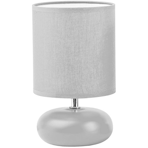 Promobo - Lampe Design Boule Plate Pied Abat Jour Coloris Gris Diamètre 14cm