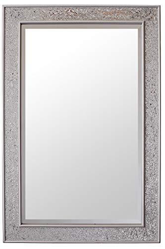 Glamour by casa chic specchio da parete - mosaico argento - legno - grandi - 90 x 60 cm