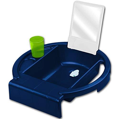 Rotho Kiddy Wash mit Farbauswahl - Kinderwaschbecken - Waschbecken - Zahnputzbecher - Handtuchhalter (blau)