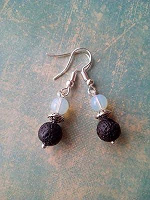 Boucles d'oreilles pendantes en pierre de lune, perle tibétaine et pierre de lave, diffuseurs d'huiles essentielles