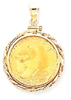 IceCarats 14k Yellow Gold 1/4 Oz Mounted Panda Coin In Screw Top Coin Bezel