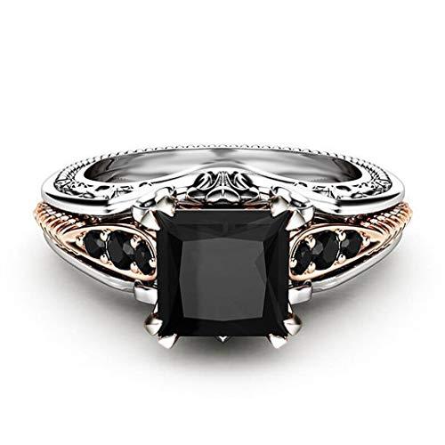 men Kupfer Ringe Schwarz Edelstein Schmuck Trauringe Größe 6-10 Eingelegtes Schwarzes Quadrat Diamant Prinzessin Ringe ()