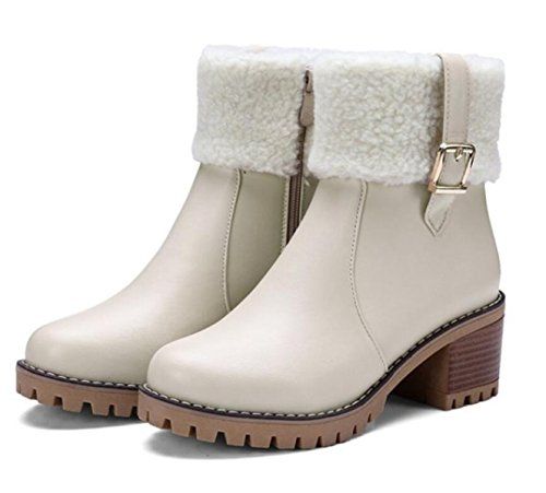 Linyi Bottines Pour Femme Martin Bottines À Talon Moyen Soft Beige Chaud