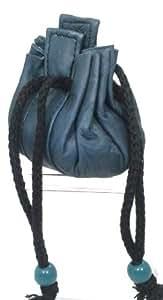 Aumonière en cuir véritable couleur Bleu Nuit - 7x7cm