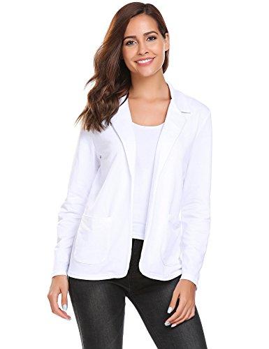 Damen Blazer Cardigan Kurzjacke Lange Arm tailliert mit Taschen, Weiß - XXL