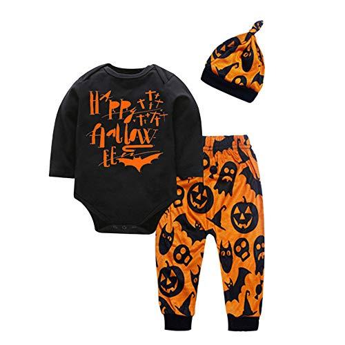 Der Childs Geist Kostüm - Zolimx Halloween Baby Boy Girl Outfit Mein erster Halloween Kürbis Hoodie Strampler Body Einteiliger Overall, 2019 Baby Baumwolle abnehmbare 4 Stück Anzug Kinder Halloween-Kostüm