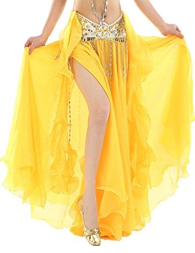 Astage Damen Fairy Stammes-Bauchtanz Rock Chiffon Rock Swing Kostüme Only skirt Gelb