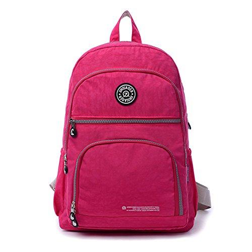 Outreo Rucksack Leichter Schultaschen Damen Schulrucksack Rucksäcke Wasserdicht Schul Daypack Lässige Tasche Reisetasche Backpack für Sport Rot 2