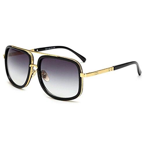 SHEEN KELLY Große Retro Sonnenbrillen Marken Metall Rahmen Pilot Platz Spiegel Brillen herren damen Gold/Silber, Grau, Einheitsgröße