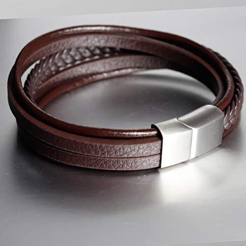 Ydxjj bracciali catenina da uomo vintage in acciaio inossidabile con braccialetti magnetici, chiusura a catenella per regali