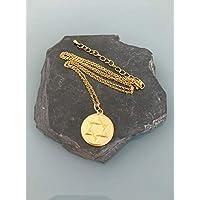 Collana pentagramma in acciaio inossidabile placcato oro, collana dorata, gioiello dorato, collana mistica, gioiello donna, idea regalo, regali gioiello