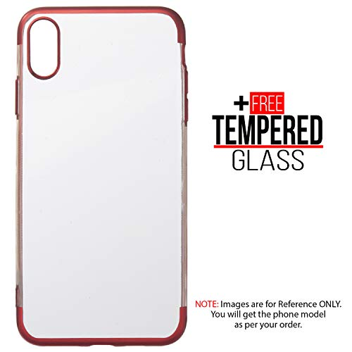 BisLinks®® Für iPhone XR Weich Silikon Gel Chrome Kante Shockproof Protection TPU Bumper TPU Fall Cover - Rot + Free Temperiert Glas Chrome Iphone Fall