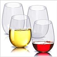 4pc/set Shatterproof Plastic Wine Glass Unbreakable PCTG Red Wine Tumbler Glasses Cups Reusable Transparent Fr