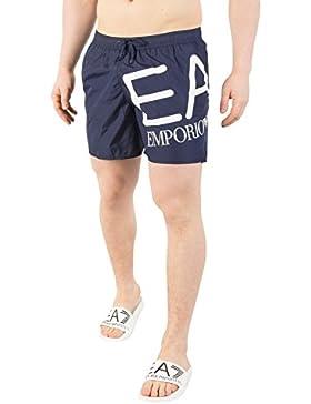 EA7 Hombre Big Logo Swim Shorts, Azul