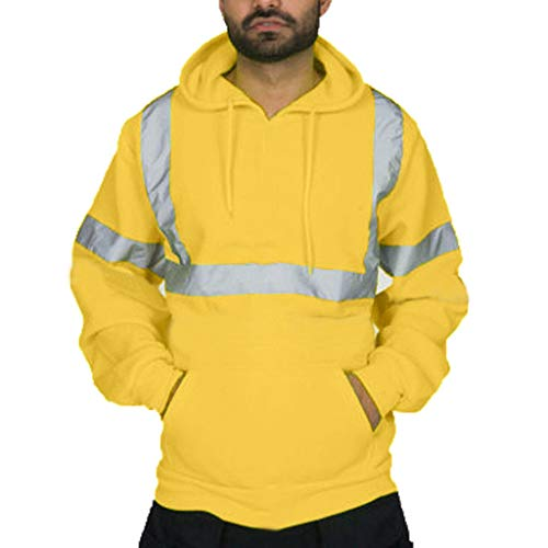 MERICAL Mantel Herren Road Work Warnschutz Pullover Langarm Kapuzenpullover Tops Bluse(XX-Large,gelb)