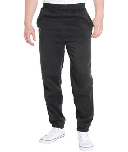 KRISP Survêtement Pantalon Jogging Doublé Polaire Casual Sport Pas Cher Grande Taille Hiver Chaud, Noir (7829), XXL, 7829-BLK-XXL