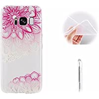 Galaxy S8 Funda Flor Diagonal,MingKun Samsung Galaxy S8 Funda Gel Pintado Transparente Flexible Colores Case Cover