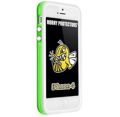 Horny Protectors Bumper con bottoni in metallo per Apple iPhone 4(non 4S) verde / nero trasparente
