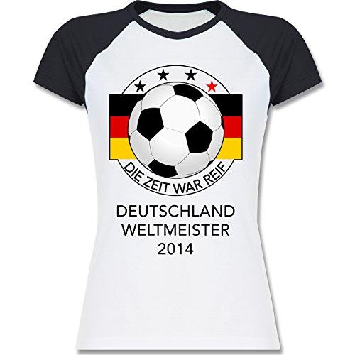 Fußball - Deutschland Weltmeister 2014 - Die Zeit war reif - zweifarbiges Baseballshirt / Raglan T-Shirt für Damen Weiß/Navy Blau
