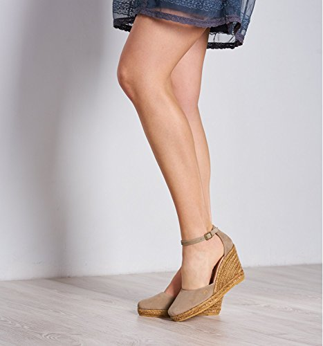 Elegant VISCATA Strap Spain Espadrilles in Palamos Nude Toe with Suede 3 inch Soft Ankle Closed Comfort Heel Made qrnqgwC5