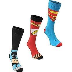 Marvel Calcetines para hombre, oficiales, paquete de 3 pares, DC Comics