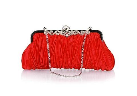 Bundle Monster Womens Fashion Classy Elegant Envelope Evening Purse Cinched Vintage Satin Clutch Hand Bag, COLOR: BRIGHT ROSE RED