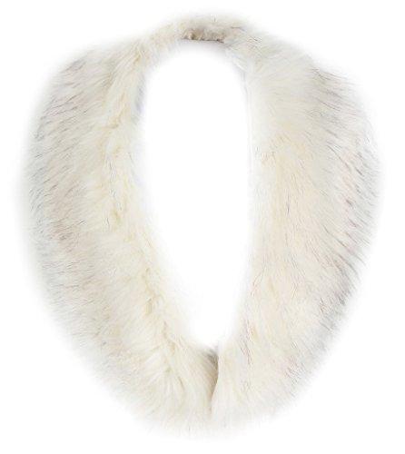 Vogueearth Damen'Faux Pelz Pelzimitat Kunstfell Hals Schal For Winter Mantel Halsband Faux-Waschbär Pelz Cream Weiß (Pelz-bomber Faux)