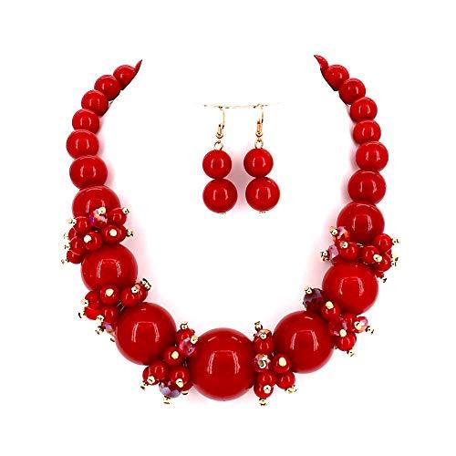 Damen Schmuck Simuliert Perle Rot Ton Stein Perlen Halsband Frauen Halskette und Ohrringe (Pretty Woman Kostüm Schmuck)
