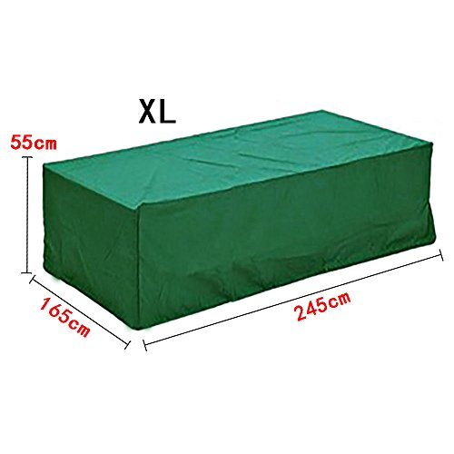logei Funda para Muebles de Jardín Protectora para Mesas de Jardín Funda Muebles Terraza Rectangular Juego de Muebles, Verde Oscuro, 245x165x55cm