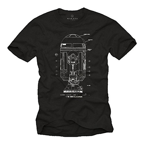 Android T-Shirt R2 schwarz Größe S-XXXL Schwarz