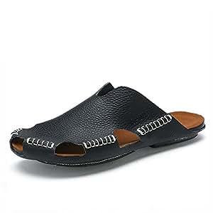 Männer Leder Slipper handgefertigte Vintage Flip Flops Front Paket Sandalen Mode und komfortabel , black , 44