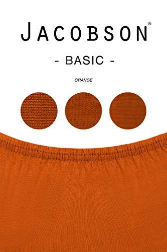 Jacobson Jersey Spannbettlaken Spannbetttuch Baumwolle Bettlaken (90×200-100×200 cm, Orange) - 3