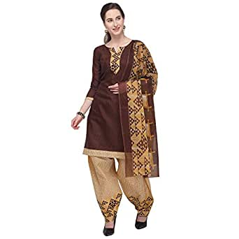 Rajnandini Brown Cotton Salwar Suit For Women (Ready To Wear)(One Size)