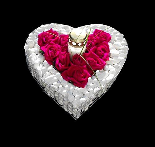 ♥ Grabherz mit Kies Herzgitter mit pinkfarbenen Rosen und Grablicht 35,0×35,0x8,0cm Grabherz Grabschmuck Pflanzschale Herz Gabione Friedhof Pflanzherz Blumentopf Marmorkies