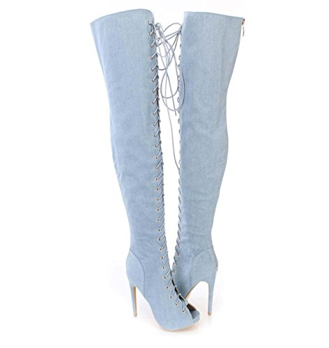 Boots Hochhackige Knie-Stiefel Europa und Amerika Cowboy Roman Oberschenkel-Stiefel,#1,40 (Breite Oberschenkel Hohe Stiefel)
