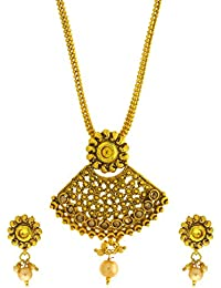 Anuradha Art Gold Tone Styled With Peach Colour Stones Traditional Pendant Set For Women/Girls
