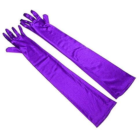 Les femmes est de 55 cm un mariage bal doigt gants de satin de soie, Violet