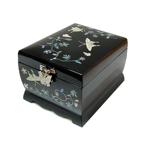 Mère de laque asiatique nacre papillon en bois Musique Bijoux Organiseur Boîte Cadeau souvenir à bijoux Trésor avec grue Design