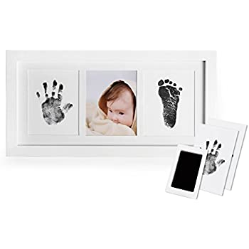 Tcatec Baby Handprint And Footprint Kit 3D Plaster Casting Moulds Memory Kit With Plastic Photo Frame for Newborn Baby Memorable Keepsake Box Decorations Plastic
