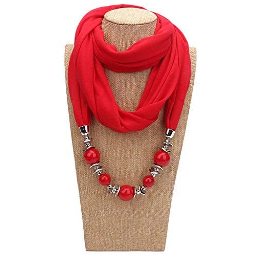 Cuigu Damen Schal Halsketten, Solid Color Schal Perlen Halstuch mit Schmuck (No.14)