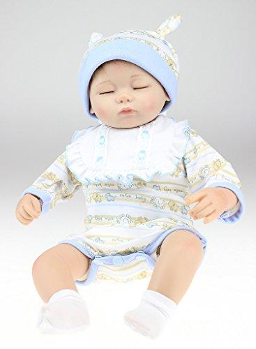 Nicery Reborn Bébé Poupée en silicone souple 18inch 45cm Belle Magnétique Lifelike Garçon Mignon Fille Jouet Bib Yeux Fermer Baby Doll A3FR